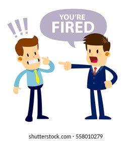Vector stock of a shocked businessman get fired by his angry boss