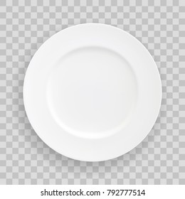 Vector stock Table White Plate, isolated vector object on a transparent background. White kitchen dishes for food, Illustration element for your product, food ads, tableware design element.