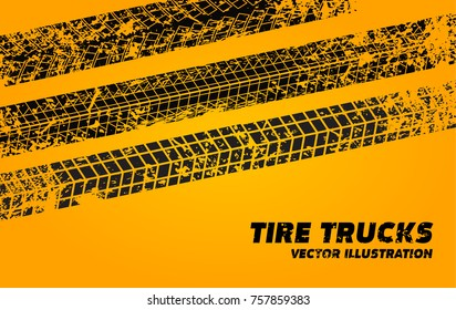 Vector stock wheel grunge tire tracks background design. Vector stock illustration of trace of tires silhouettes.