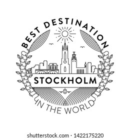 Vector Stockholm City Badge, Linear Style