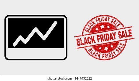 Vector stocks chart pictogram and Black Friday Sale seal. Red round textured seal with Black Friday Sale caption. Vector combination for stocks chart in flat style. Black isolated stocks chart symbol.