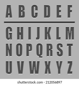 vector stone carved alphabet font