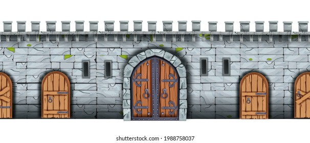 Vector stone castle wall seamless background, medieval brick palace fortification texture, wooden city gate. Ancient fortress game illustration, entrance arch, door, loophole. Castle wall front view