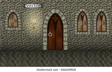 Vector. Stone hall, corridor, room in the castle, ancient castle, with stone walls, Windows and doors vintage, ancient Palace, exit . Realistic 3D, illustration