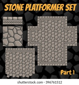 Vector stone platformer tiles set for games