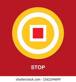vector stop button icon - media symbol - stop music or video