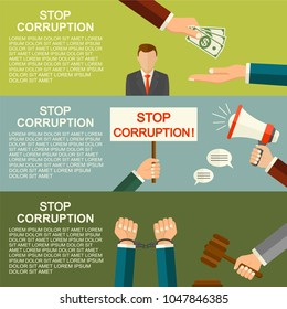 Vector stop corruption concept. Handcuffs on hands. Hand giving money during business corrupt deal. Bribery vector. Anti corruption icon.