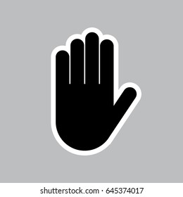 Vector stop hand gesture on grey background with outline. High five.