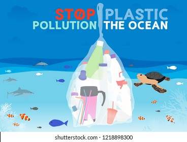Vector Stop plastic pollution the ocean, Abstract Graphic Design Background, illustration.