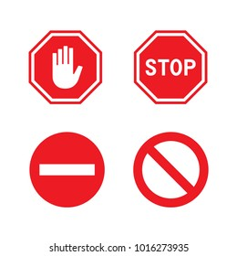 vector stop red sign, symbol, icons