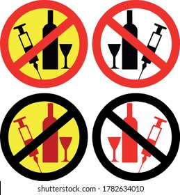vector stop sign can not be alcohol and drug