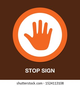 vector stop sign - hand illustration symbol isolated - human silhouette