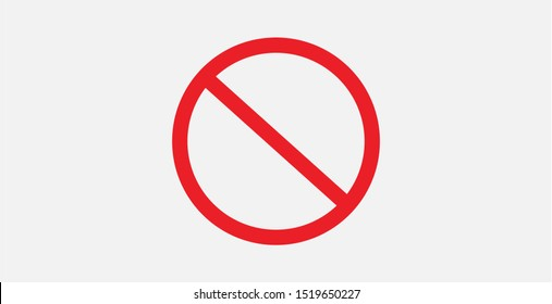 Vector stop sign icon. Red no entry sign. No sign, red warning isolated. Prohibition Icon. Circle with a slash. Ban symbol. Cancel, delete, embargo, exit, interdict. Negative, No icon. Forbidden sign.