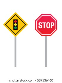 Vector Stop Sign and Traffic Light Signage