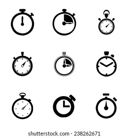 Vector stopwatch icon set on white background