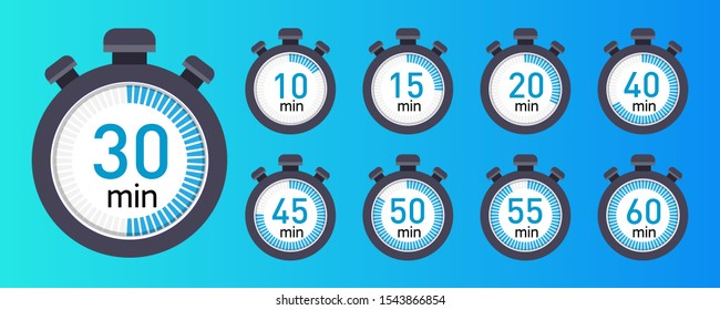 Vector stopwatch icons set 10, 15, 20, 30, 40, 45, 50, 55, 60 minutes. Stopwatch icon in flat style, timer on a colored background
