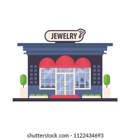 Vector store front of fashion woman boutique jewelry. Flat  facade with red awnings and silhouettes of gems, necklace and choker in the window