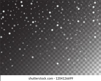 Vector Storm Trail Winter Snowfall Transparent Background. Isolated Realistic Snow Confetti Falling Down, Cold Night Scatter. Gray Scale Funky Realistic Snow Confetti, Christmas, New Year Decoration
