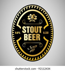 vector stout beer label with a border ornament