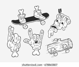 Vector strange unusual skater stickers collection. Simple and funny hand drawn small illustrations. Pizza, horns jest, crossed fingers and feet on a skate.