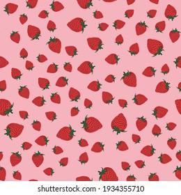 Vector strawberry background seamless pattern garden fruits