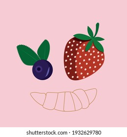 Vector strawberry and blueberry with outline croissant. Food illustration. Red and blue berries