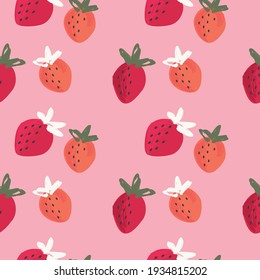 Vector strawberry fruits seamless pattern
