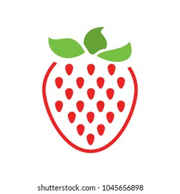 vector strawberry icon, fresh strawberry fruit