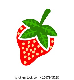 vector strawberry illustration isolated - healthy fresh fruit symbol, natural sign