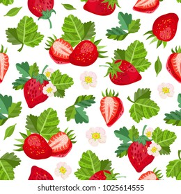 Vector strawberry seamless pattern.