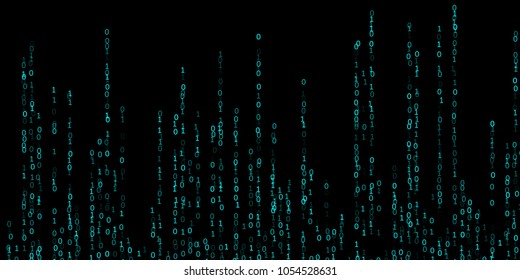 Vector streaming binary code background. Zero one numbers. Data technology, information decryption and encryption computer background. Binary numbers 1 0. Hacker coding concept, matrix vector image.
