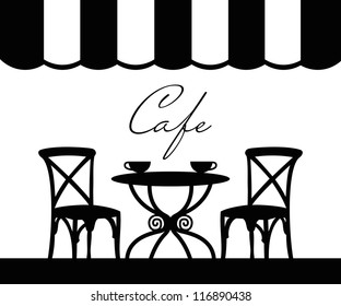 Vector street cafe, French cafe