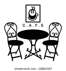 Vector street cafe, silhouette cafe sign