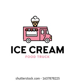Vector street food truck logo template. Line ice cream van logotype illustration. Delivery car icon with sweet cone dessert. Festival shop transport to cook and sell snacks