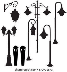vector street lights silhouette