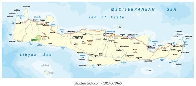 vector street map of greek mediterranean island crete
