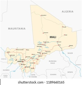 vector street map of the Republic of Mali.