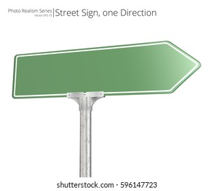 Vector Street Sign. Green Vector Street Sign pointing in one directions. Isolated and Blank for Copy Space.