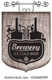 Vector street signboard or banner for ice cold beer with a lettering and hops and image of brewery production line and brewing equipment on a wooden background in retro style.