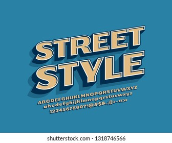 Vector Street Style logotype with Trendy Font. 3D Retro Fashion Alphabet Letters, Numbers and Symbols for Shopping, Business, Marketing.