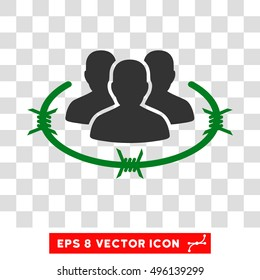 Vector Strict Management EPS vector pictogram. Illustration style is flat iconic bicolor green and gray symbol on a transparent background.