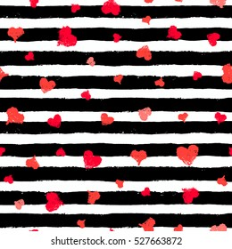 Vector Stripe Pattern with Hearts. Valentine background, wallpaper, gift paper, fabric print. Black white striped illustration and red love symbols. Grunge brush strokes design. Painted backdrop.