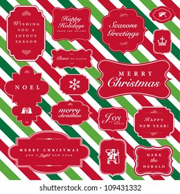 Vector Striped Christmas Frame Set. Easy to edit. Perfect for holiday invitations or announcements.