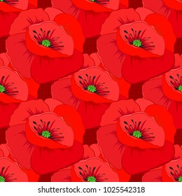 Vector striped seamless pattern with big poppy flowers. Decorative ornament for fabric, textile, wrapping paper. Traditional seamless pattern. Floral wallpaper in red colors.