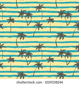 Vector striped seamless pattern with hand drawn palm trees. Summer textile background.