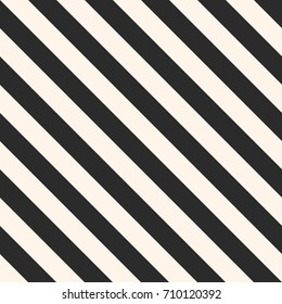 Vector stripes seamless pattern. Repeat diagonal lines texture, 45 degrees inclination. Modern abstract geometric background. Black and white colors. Simple striped template. Universal design element