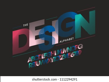 Vector of stripy bold font and alphabet