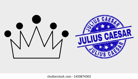 Vector stroke crown pictogram and Julius Caesar seal stamp. Blue rounded scratched seal stamp with Julius Caesar title. Black isolated crown icon in stroke style.
