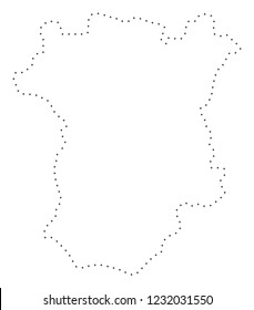 Vector stroke dot Chechnya map in black color, small border points have diamond shape. Trace the frame points and get Chechnya map. Educational geographic template for Chechnya map quiz.