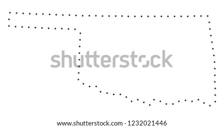 Vector Stroke Dotted Oklahoma State Map Stock Vector Royalty Free